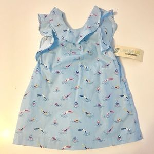 Toddler A Line Shape dress with side pockets.